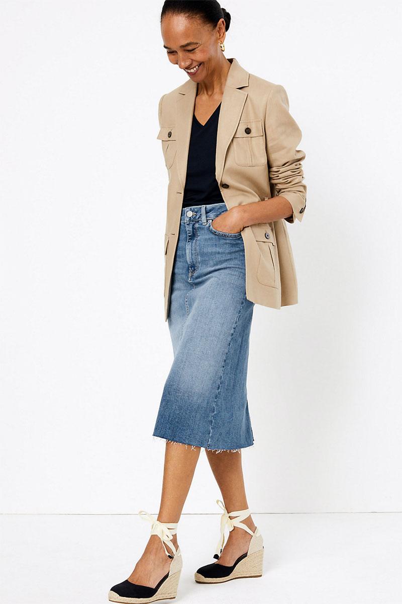 MS& Collection Denim Midi Skirt
