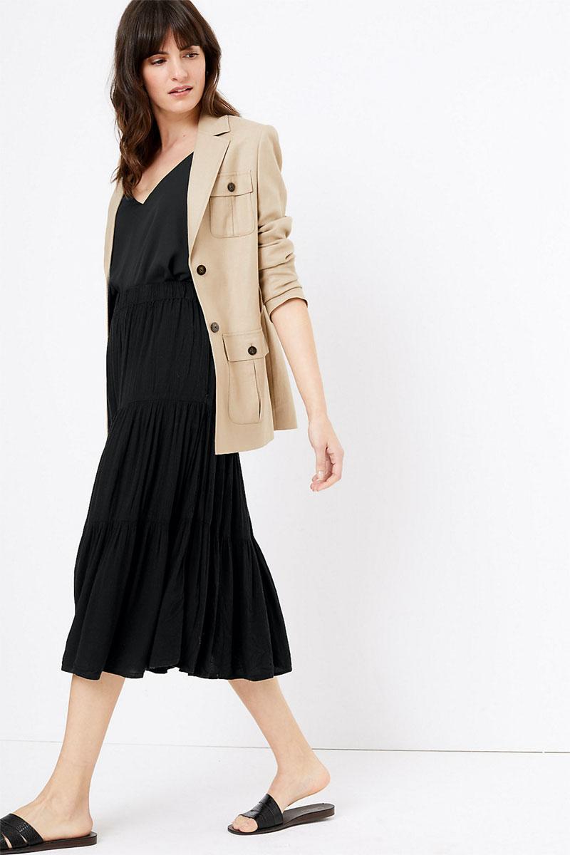M&S Collection Tiered Midi Slip Skirt