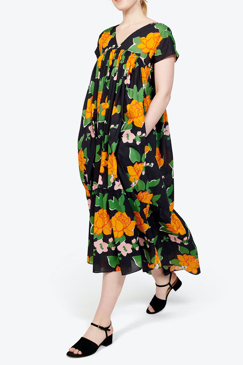 Madewell WHIT Gillian Tiered Midi-dress in Navy Hermosa Floral
