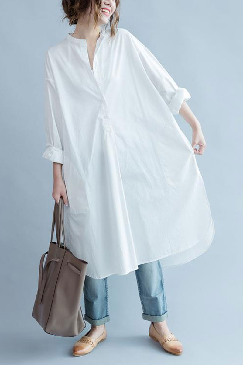 One Cozy Day Simple Stand-collar White Long Blouse Dress