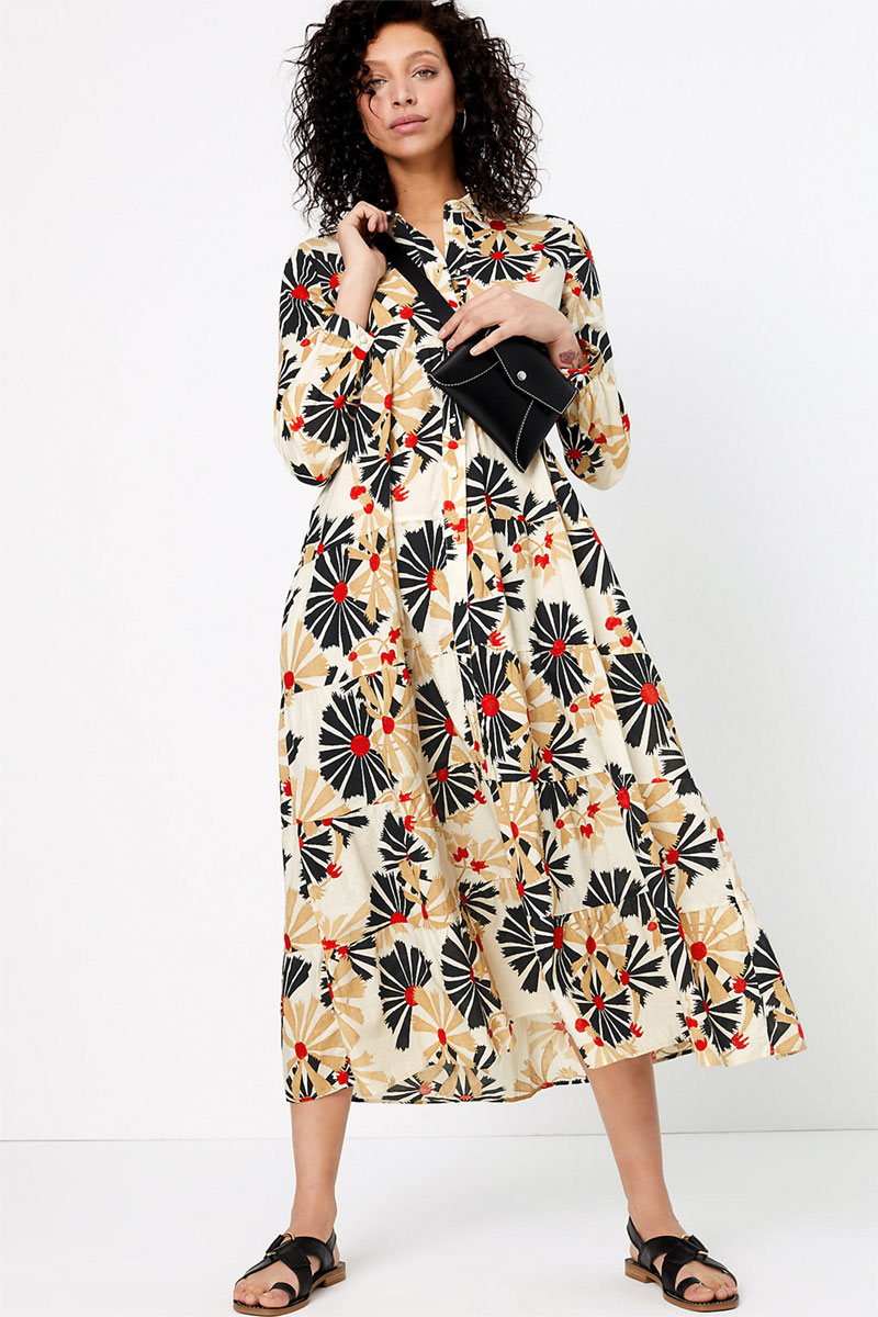 Per Una Pure Cotton Printed Midaxi Shirt Dress