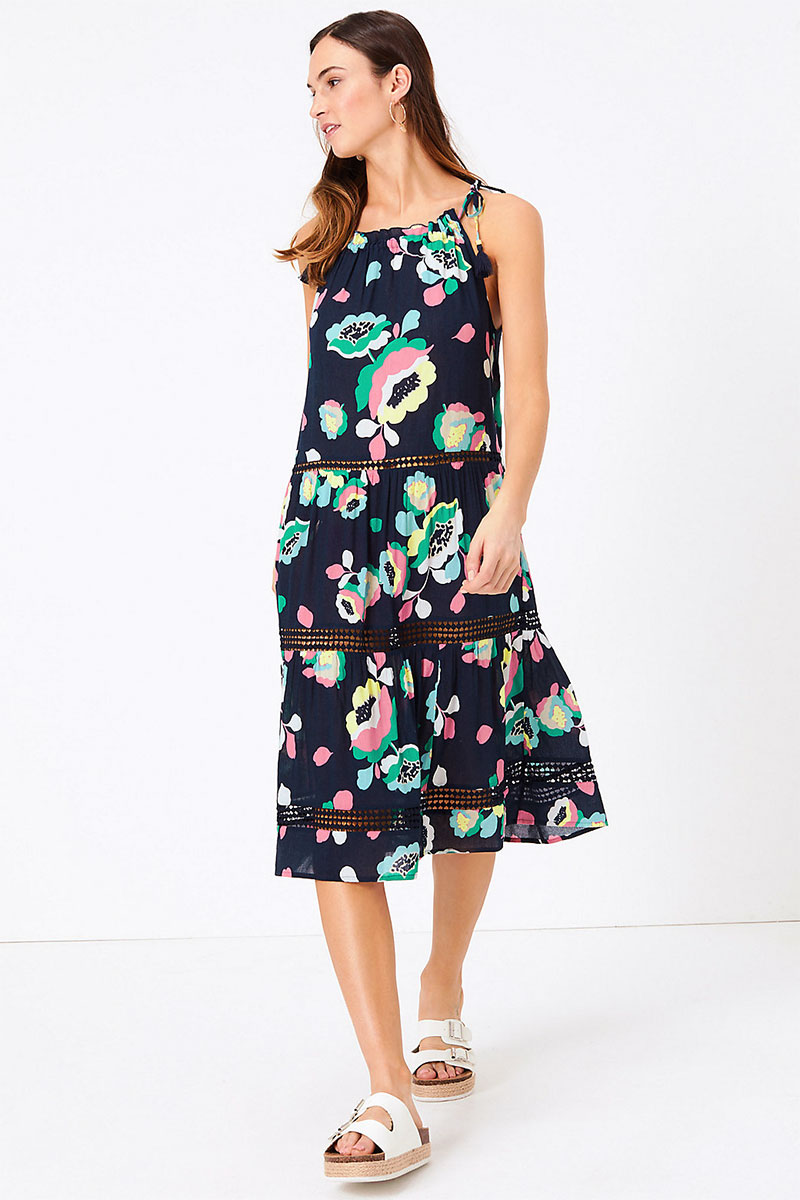 M&S Cotton Woven Floral Tassel Beach Dress