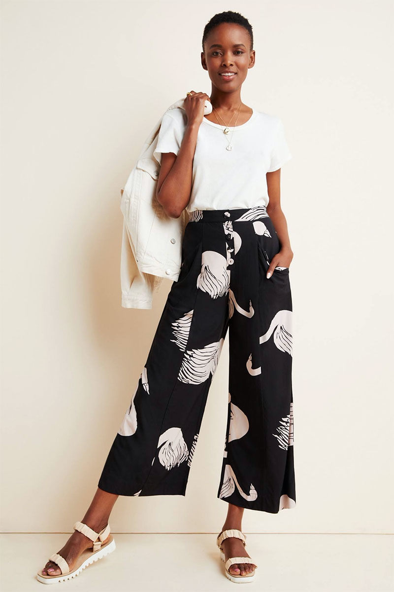Anthropologie Odette Swan Printed Trousers
