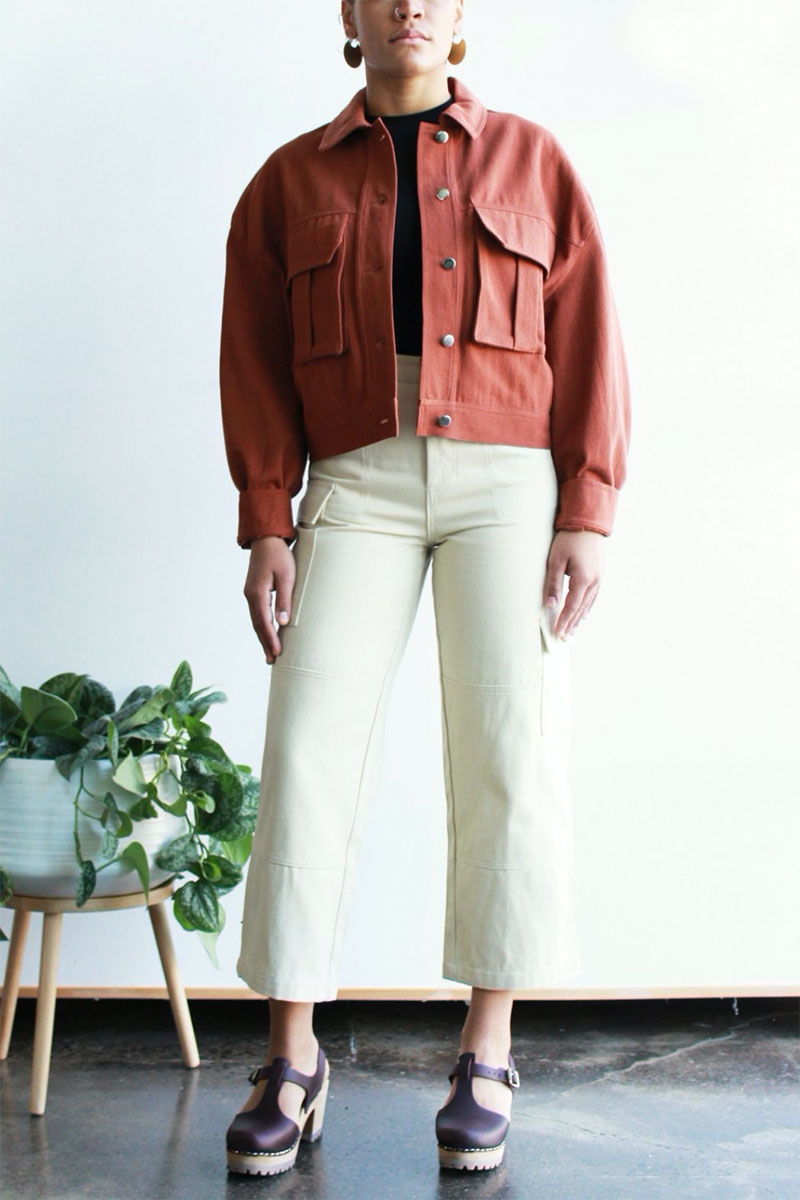 Ecovibe Celia Cropped Jacket in Rust