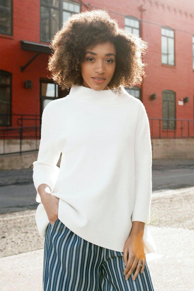 Ecovibe Ellis Ultra Soft Mock-Neck-Sweater in Ivory