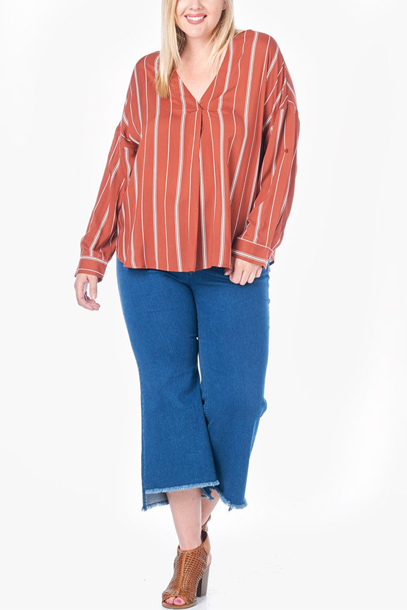 Ecovibe Zena Striped V-Neck Blouse in Rust