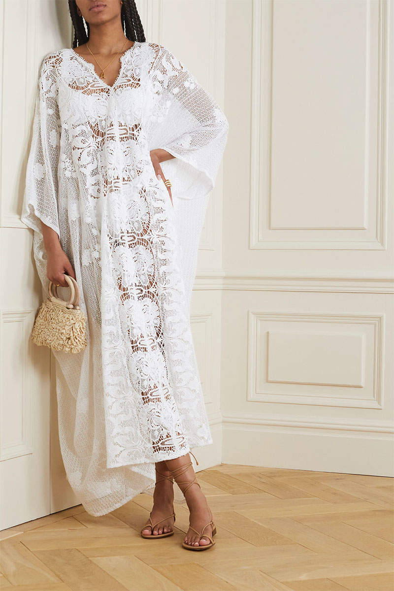 MIGUELINA Rachel Crocheted Cotton Kaftan