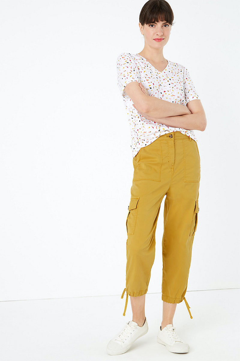 M&S Tencel Cargo Tapered Cropped Trousers