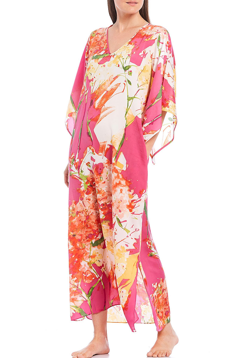 Natori N by Natori Painted Bouquet Printed Satin Caftan