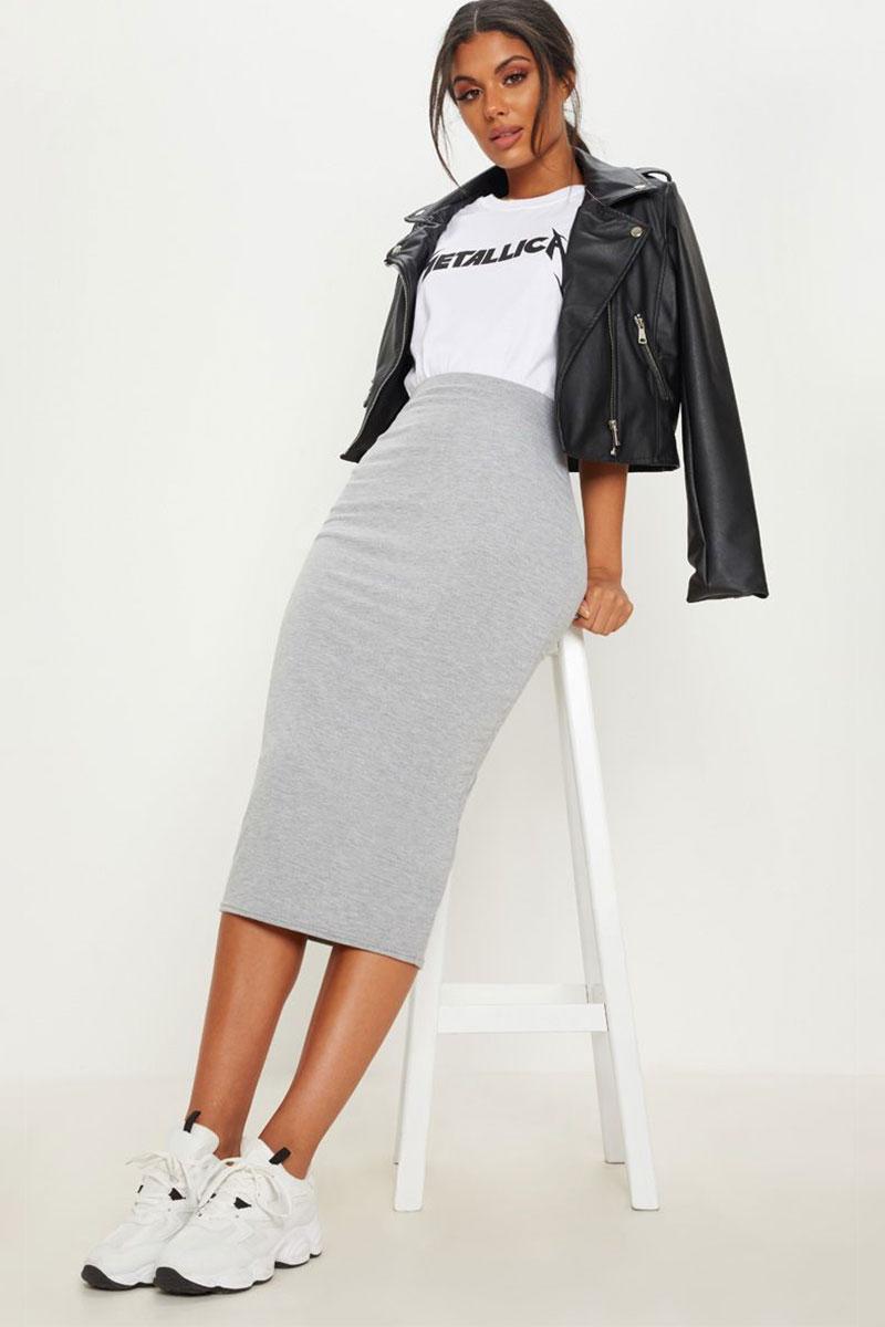 PrettyLittleThing Grey Marl Ultimate Jersey Longline Midi Skirt