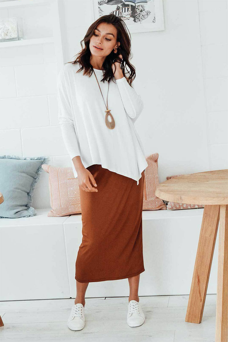 Blue Bungalow Bronze Bamboo Maxi Tube Skirt