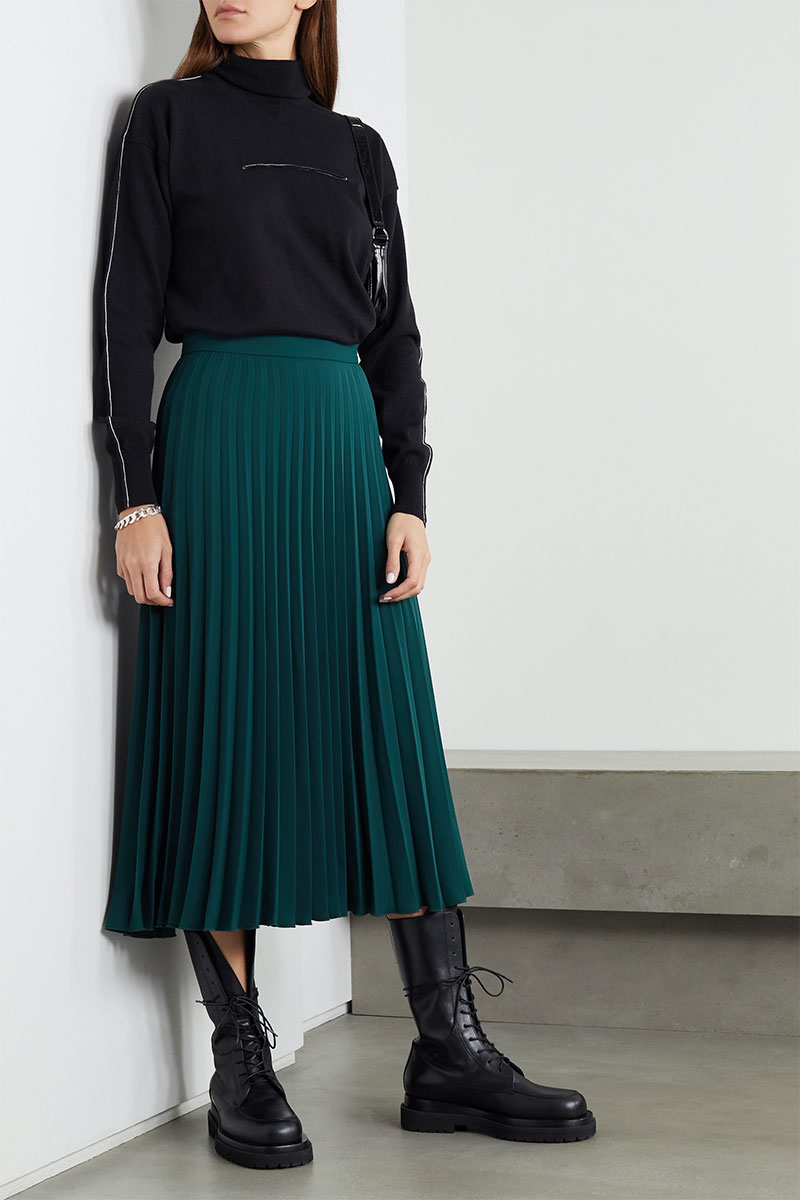 MM6 MAISON MARGIELA Pleated Crepe Midi Skirt
