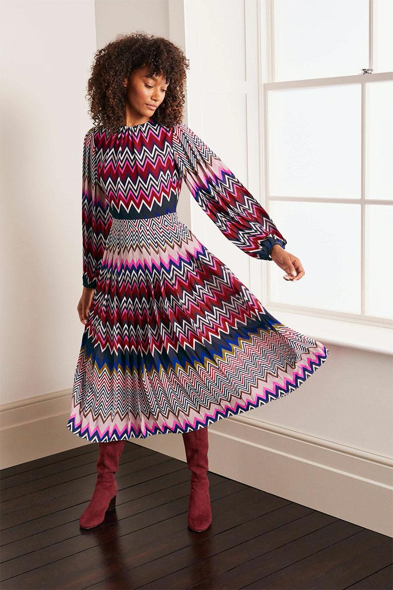 Boden Elise Pleated Midi Dress