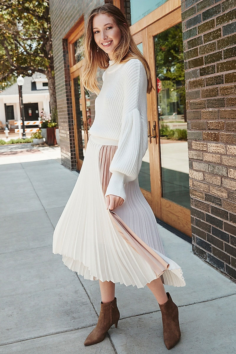 Express Drop Shoulder Sweater + Pleated Skirt