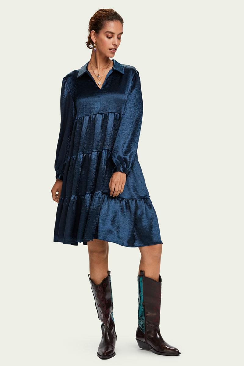 Scotch & Soda Satin-feel Tiered Skirt Long Sleeve Midi Dress