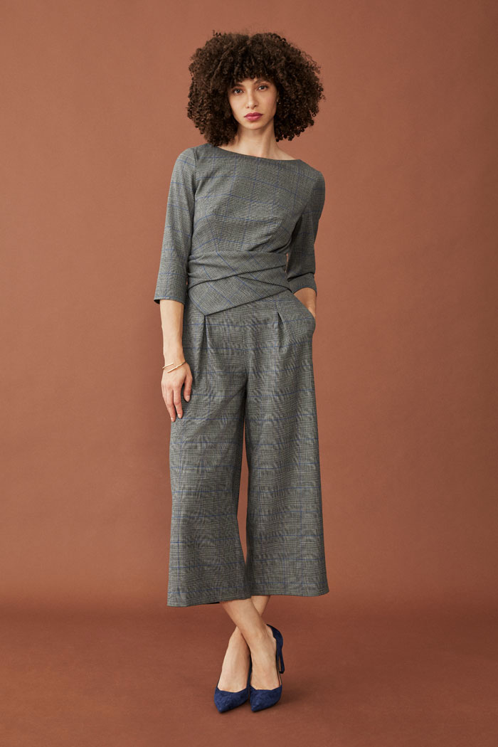 The Fold Lugano Jumpsuit Grey Check Wool