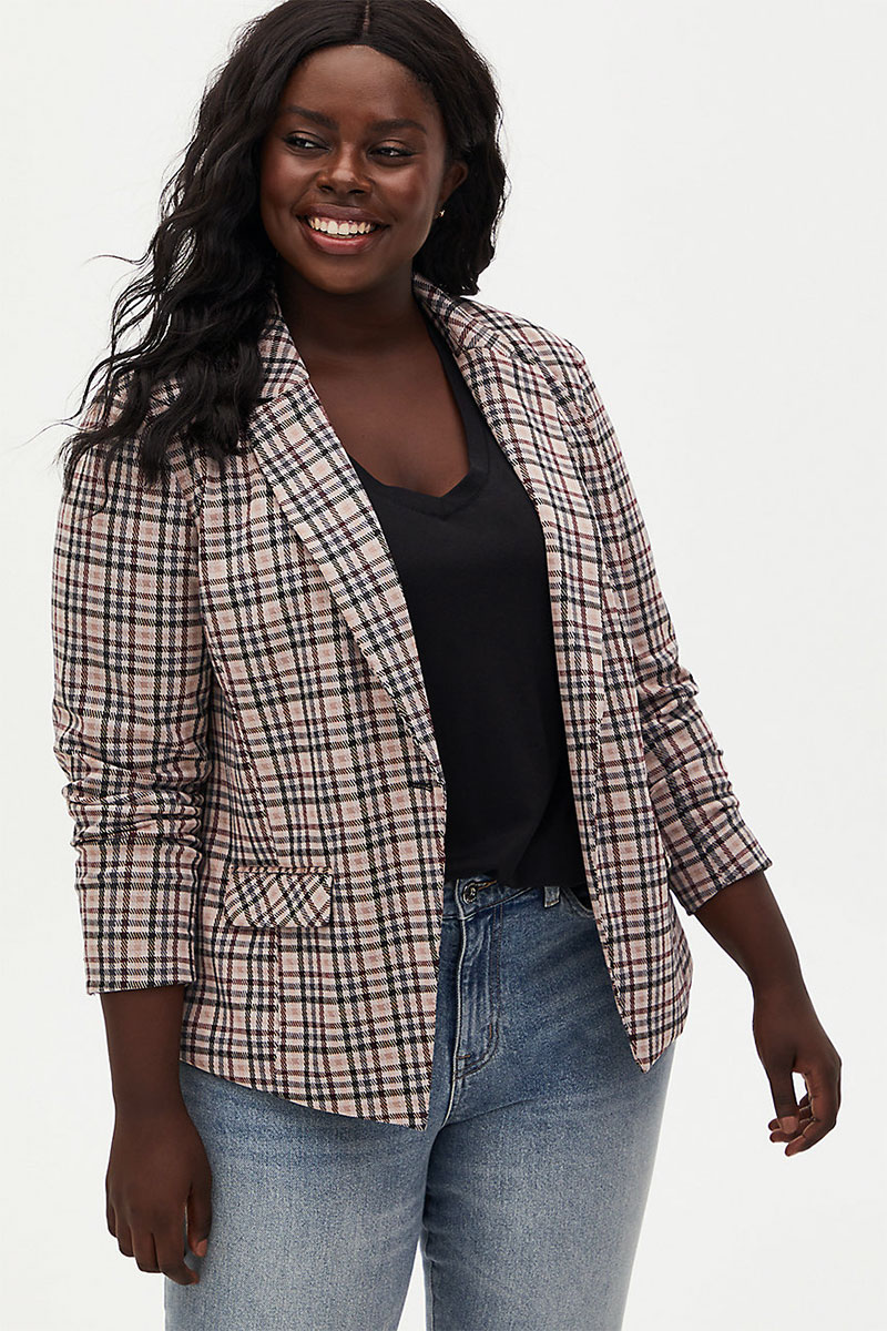 Torrid Light Taupe Plaid Double Knit Blazer