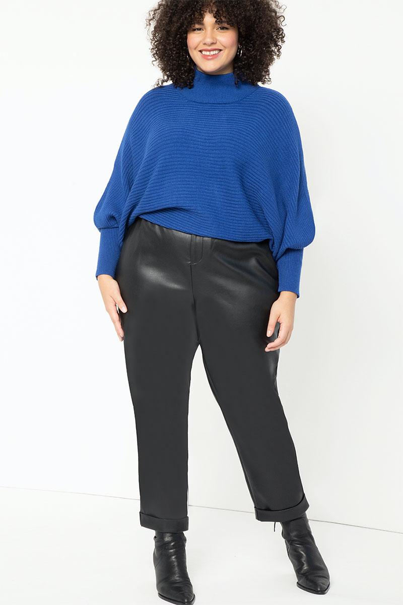 Eloquii Puff Sleeve Ribbed Sweater