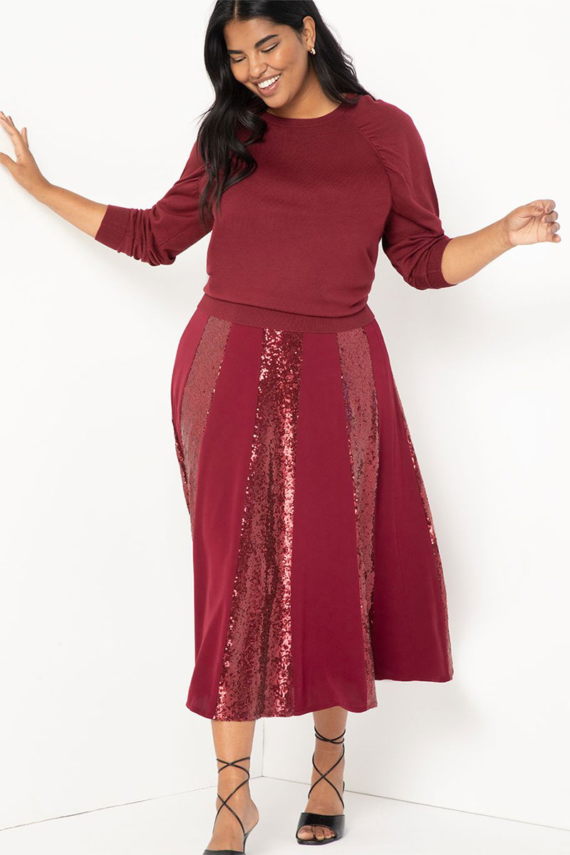 Eloquii Sequin Skirt with Godets