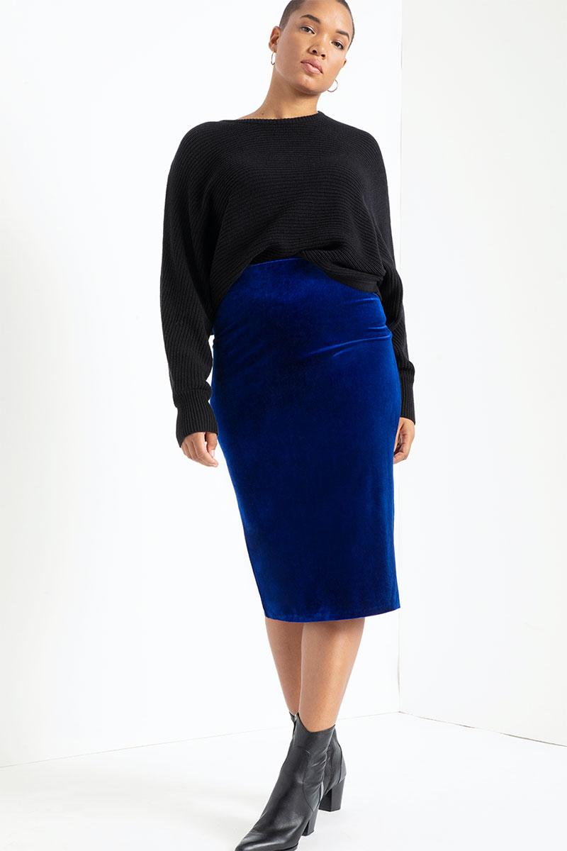 Eloquii Velvet Column Skirt