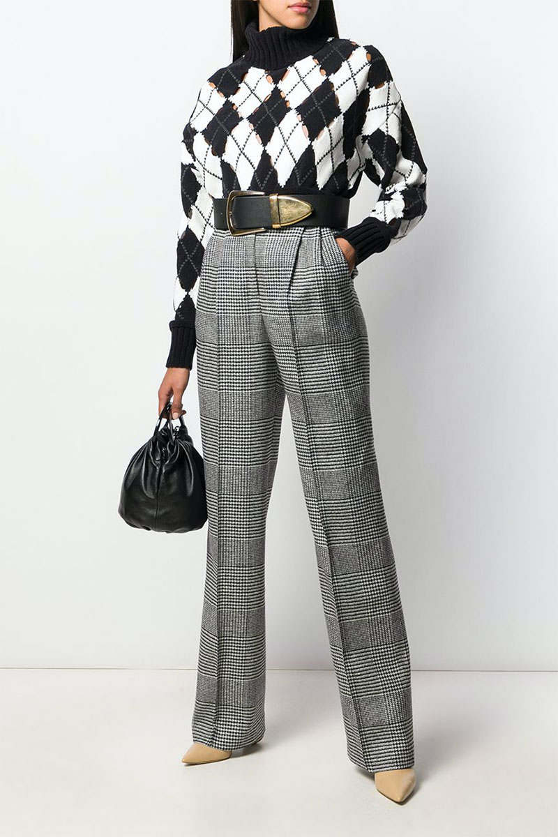 Ermanno Scervino Plaid High-waist Trousers