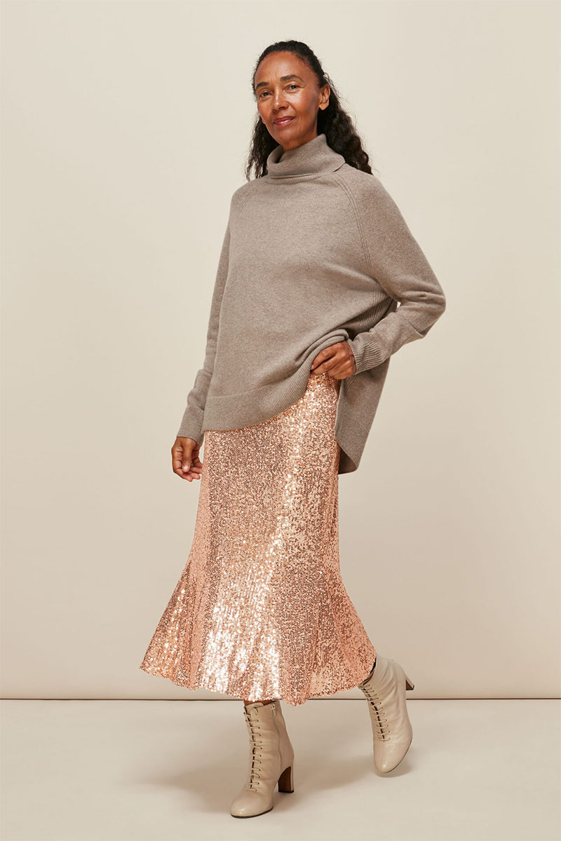Whistles Sequin Midi Skirt