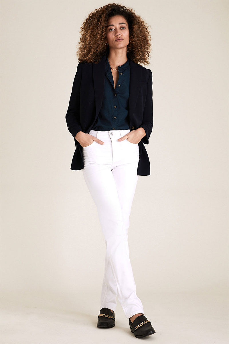 M&S COLLECTION Cotton Frill Neck Long Sleeve Shirt