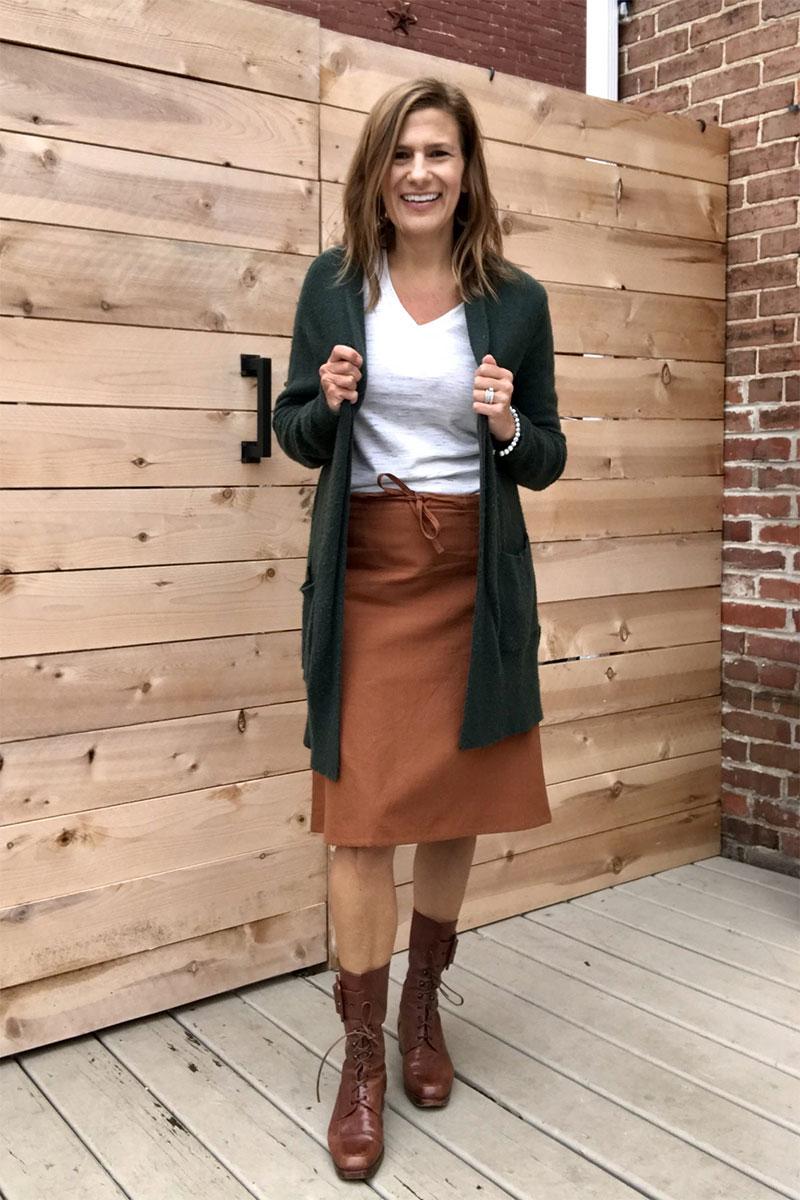 Evolverie Drawstring Knee Length Skirt