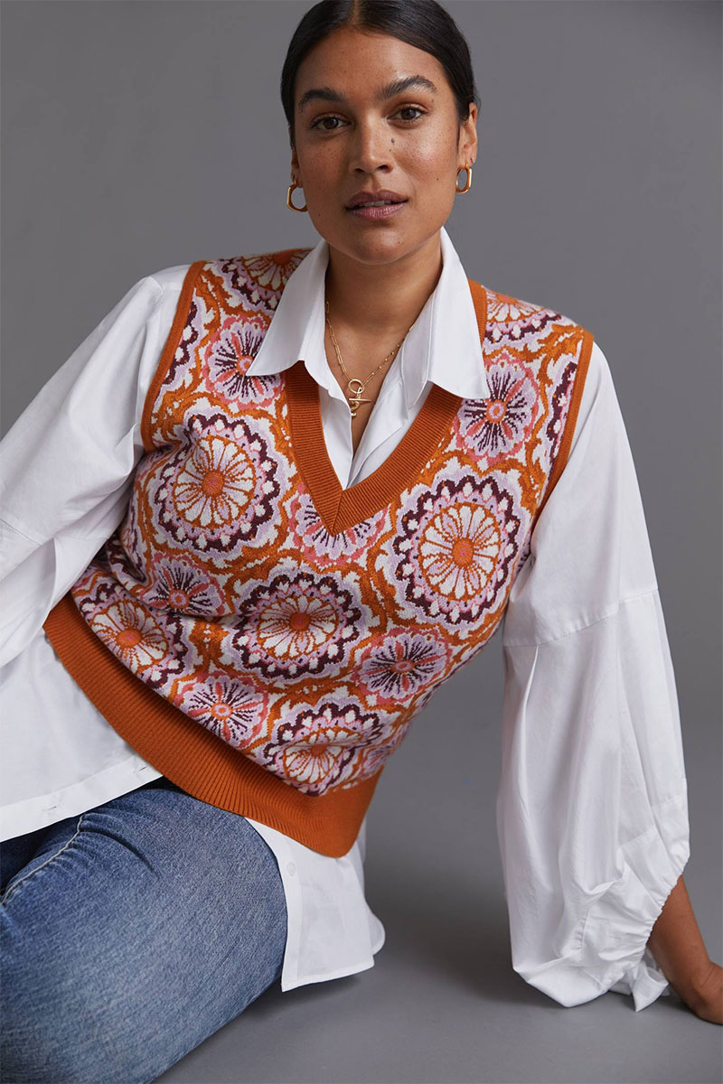 Maeve Jacquard Sweater Vest
