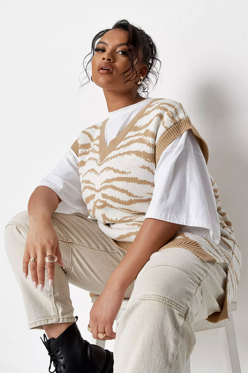 Zebra Knit Sweater Vest Top