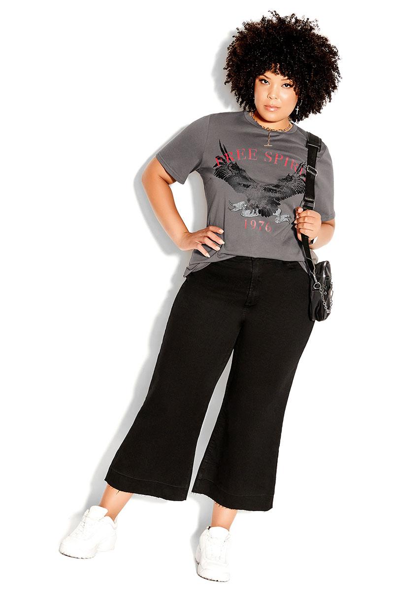 Black Pants, Slogan Tee, and Sneakers