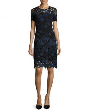 1ecff01f1b397 Neiman Marcus. Ophelia Short-Sleeve Lace Sheath Dress