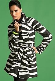 Zebra-Print Trench Jacket