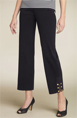 Exclusively Misook Button Trim Crop Pants