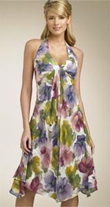 Donna Ricco Overlay Halter Dress