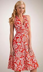 Donna Morgan Printed Cotton Lawn Halter Dress