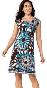 Donna Morgan Printed Cap-Sleeve Dress