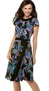 Tahari by ASL Printed Dress With Tie