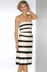 BCBG Strapless Contrast-Pleat Dress