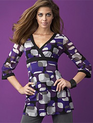 INC International Concepts® Printed Contrast-Trim Tunic