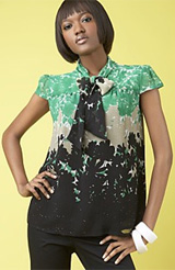 INC International Concepts® Printed Tie-Neck Trapeze Top