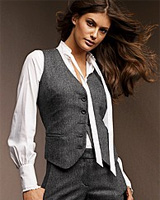 Five-Button Vest in Wool Herringbone