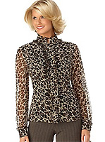 Alfani Silk Animal-Print Ruffle-Front Blouse
