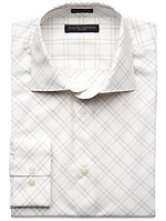 Fitted Shadow Bias-Check Dress Shirt