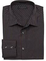 Slim Fit Barrel Cuff Shadow-Stripe Shirt