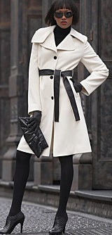 DKNY Wool Coat with Contrast Belt