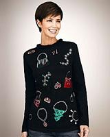 Merry & Bright Petites Accessories Appliqued Sweater