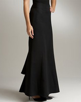Black Faille Ball Skirt with Tiered Train