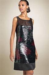 Kay Unger Illusion Bodice Sequin Shift Dress