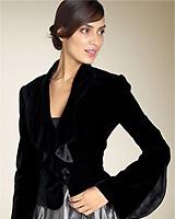 Carmen Marc Valvo Ruffled Velvet Jacket
